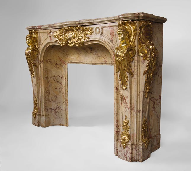 Prestigious antique fireplace in Scagliola as Sarrancolin Fantastico marble made after the fireplace of the Council Room at the Palace of Versailles-9