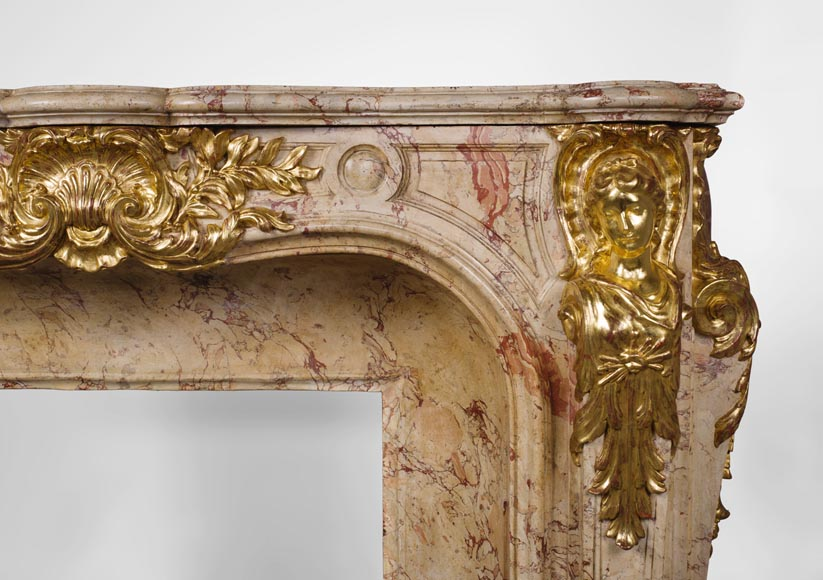 Prestigious antique fireplace in Scagliola as Sarrancolin Fantastico marble made after the fireplace of the Council Room at the Palace of Versailles-10