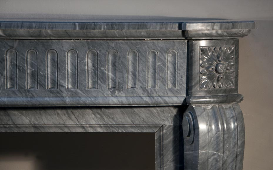 Antique Louis XVI style fireplace with curved jambs made out of Blue Turquin marble-6