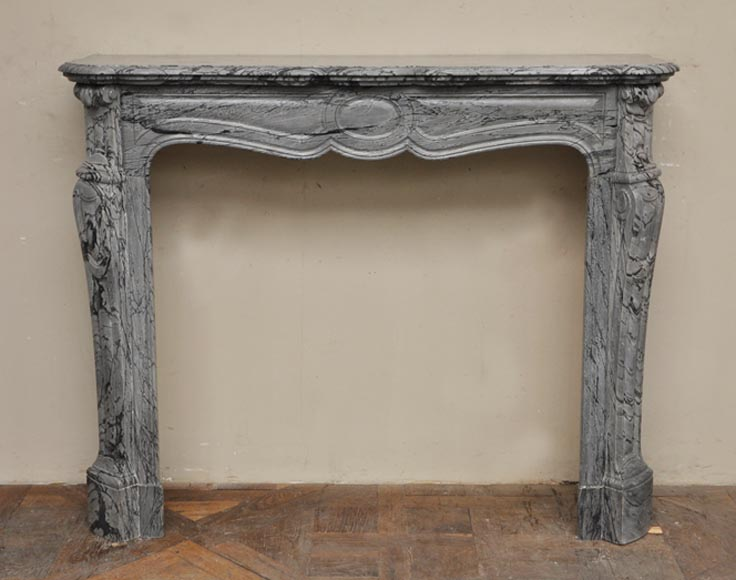 "Antique Louis XV style fireplace, ""Pompadour"" model, in Bleu Fleuri marble - Reference 2329"
