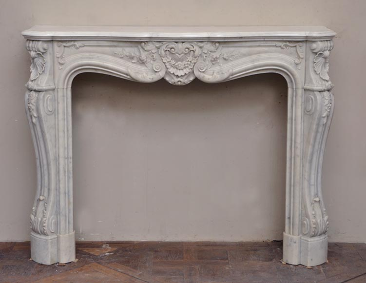 Very beautiful antique Louis XV style fireplace elaborately carved in Carrara marble - Reference 2341