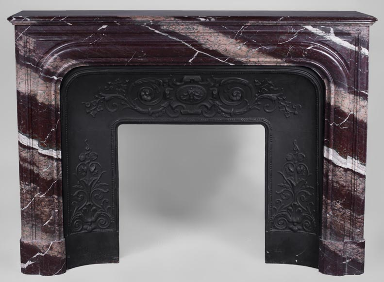 Antique Louis XIV style fireplace in Campan Rubane marble -0