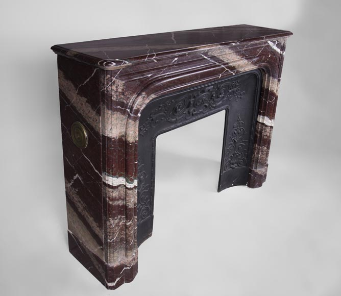 Antique Louis XIV style fireplace in Campan Rubane marble -2