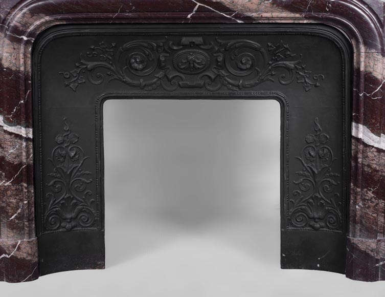 Antique Louis XIV style fireplace in Campan Rubane marble -8