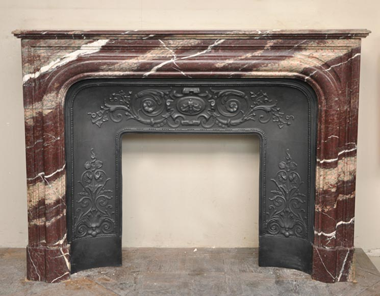 Antique Louis XIV style fireplace in Campan Rubane marble-0