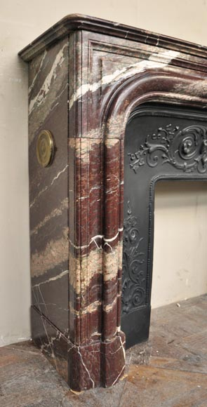 Antique Louis XIV style fireplace in Campan Rubane marble-2