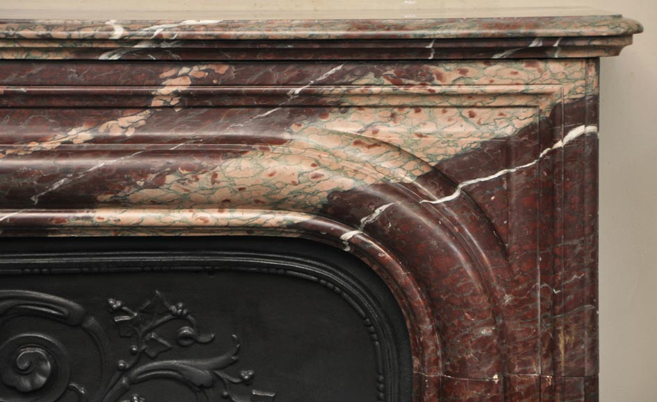 Antique Louis XIV style fireplace in Campan Rubane marble-6