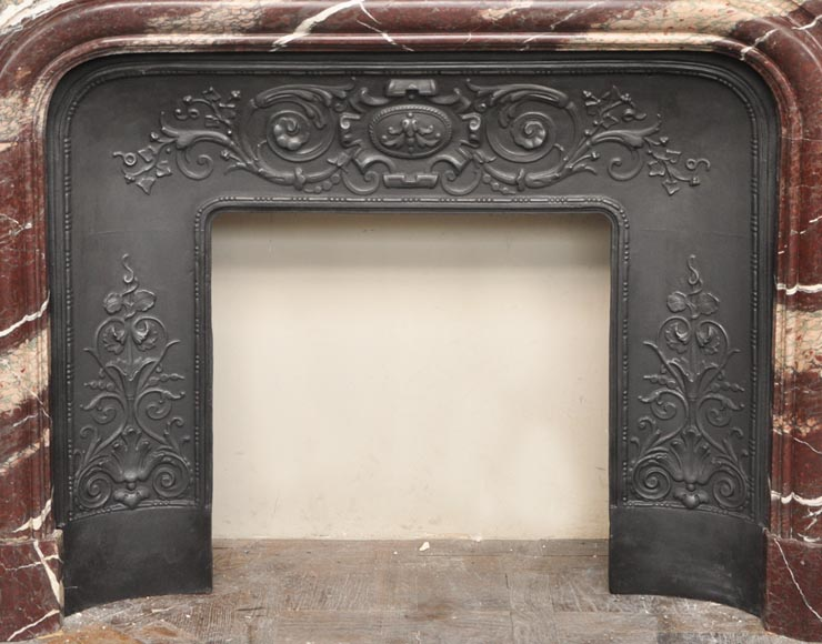 Antique Louis XIV style fireplace in Campan Rubane marble-7