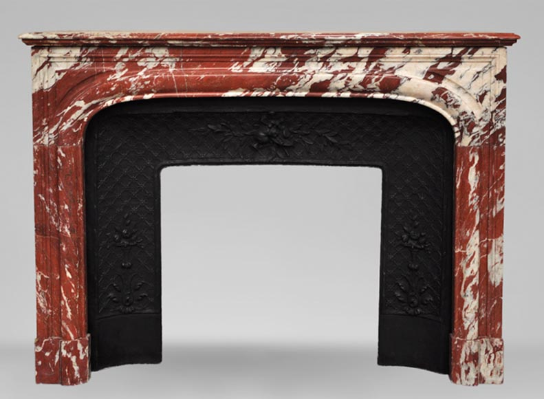 Antique Louis XIV style fireplace in a beautiful Red of Languedoc marble-0