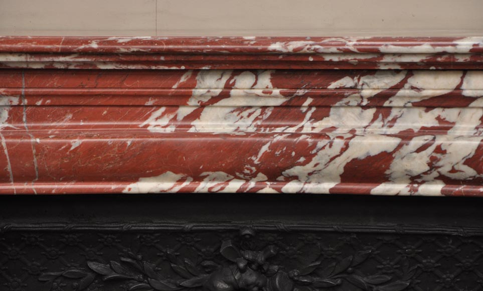 Antique Louis XIV style fireplace in a beautiful Red of Languedoc marble-1
