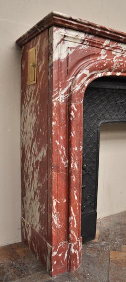 Antique Louis XIV style fireplace in a beautiful Red of Languedoc marble-2