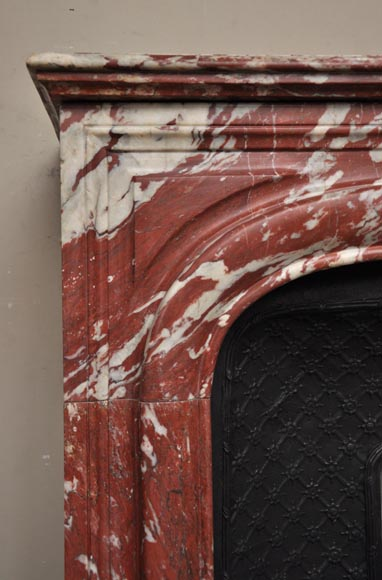 Antique Louis XIV style fireplace in a beautiful Red of Languedoc marble-3