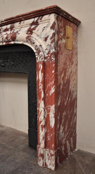 Antique Louis XIV style fireplace in a beautiful Red of Languedoc marble-5