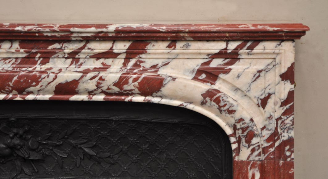Antique Louis XIV style fireplace in a beautiful Red of Languedoc marble-6