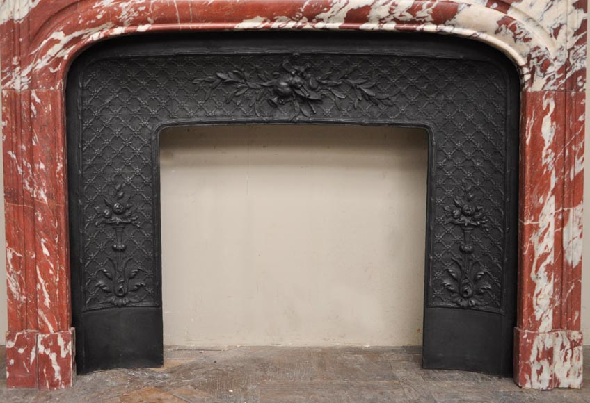 Antique Louis XIV style fireplace in a beautiful Red of Languedoc marble-7