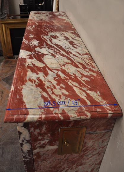 Antique Louis XIV style fireplace in a beautiful Red of Languedoc marble-8