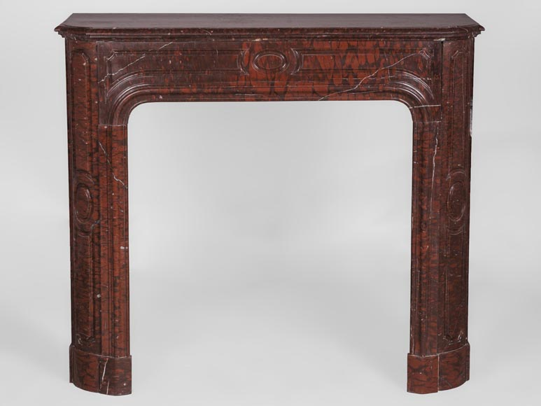 Antique large Louis XV style fireplace in Rouge Griotte marble-0