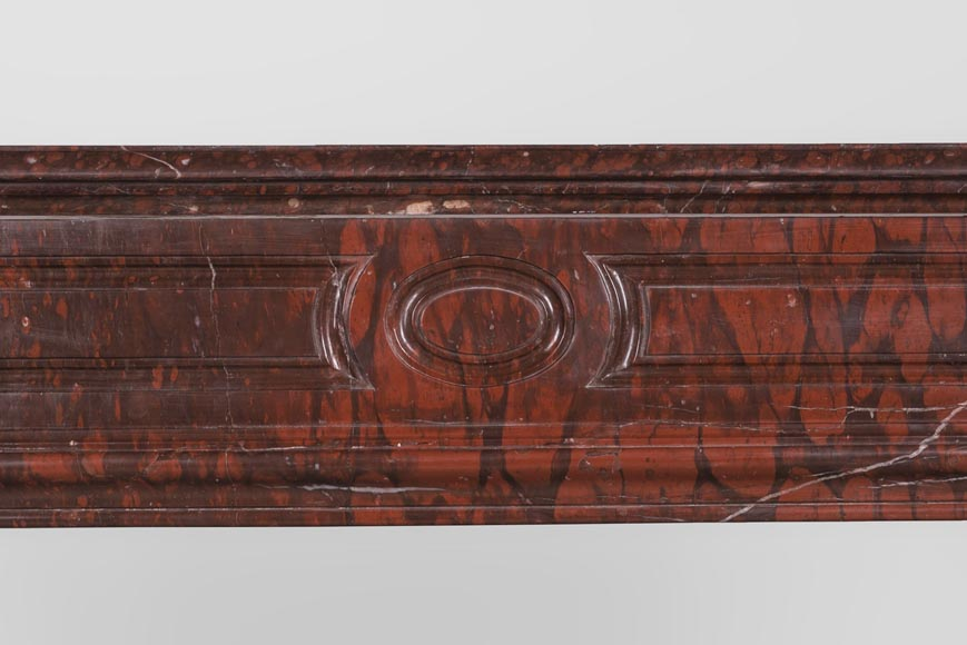 Antique large Louis XV style fireplace in Rouge Griotte marble-2