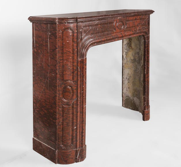 Antique large Louis XV style fireplace in Rouge Griotte marble-3