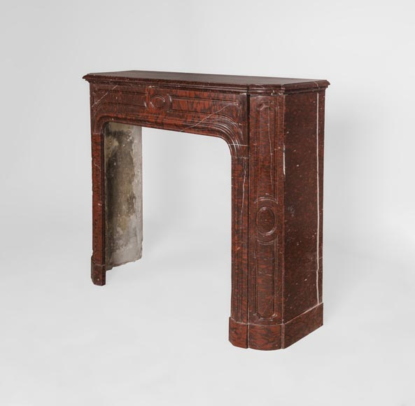 Antique large Louis XV style fireplace in Rouge Griotte marble-8