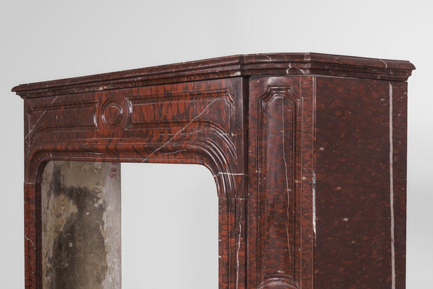 Antique large Louis XV style fireplace in Rouge Griotte marble-9