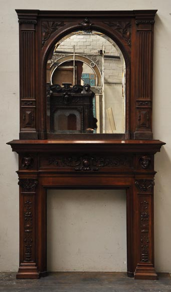 Neo-Renaissance style antique fireplace in carved walnut wood-0