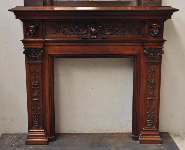 Neo-Renaissance style antique fireplace in carved walnut wood-1