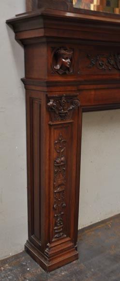 Neo-Renaissance style antique fireplace in carved walnut wood-3