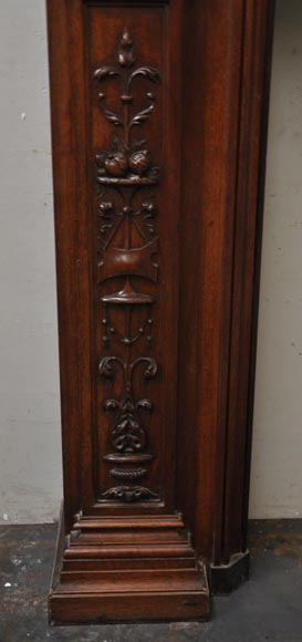 Neo-Renaissance style antique fireplace in carved walnut wood-5