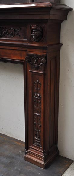 Neo-Renaissance style antique fireplace in carved walnut wood-6