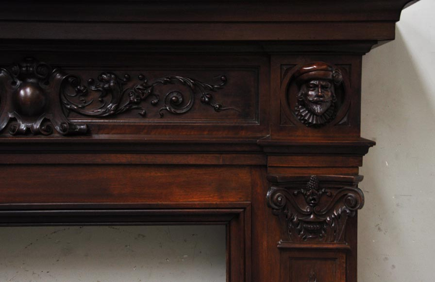 Neo-Renaissance style antique fireplace in carved walnut wood-7