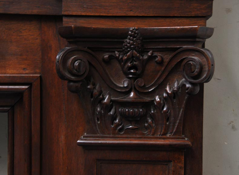 Neo-Renaissance style antique fireplace in carved walnut wood-9