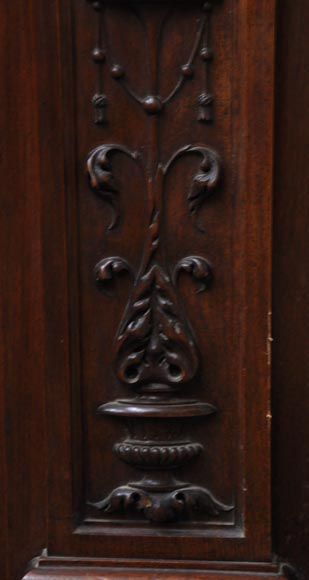 Neo-Renaissance style antique fireplace in carved walnut wood-11