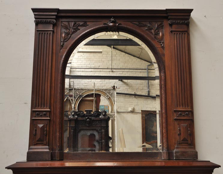 Neo-Renaissance style antique fireplace in carved walnut wood-12