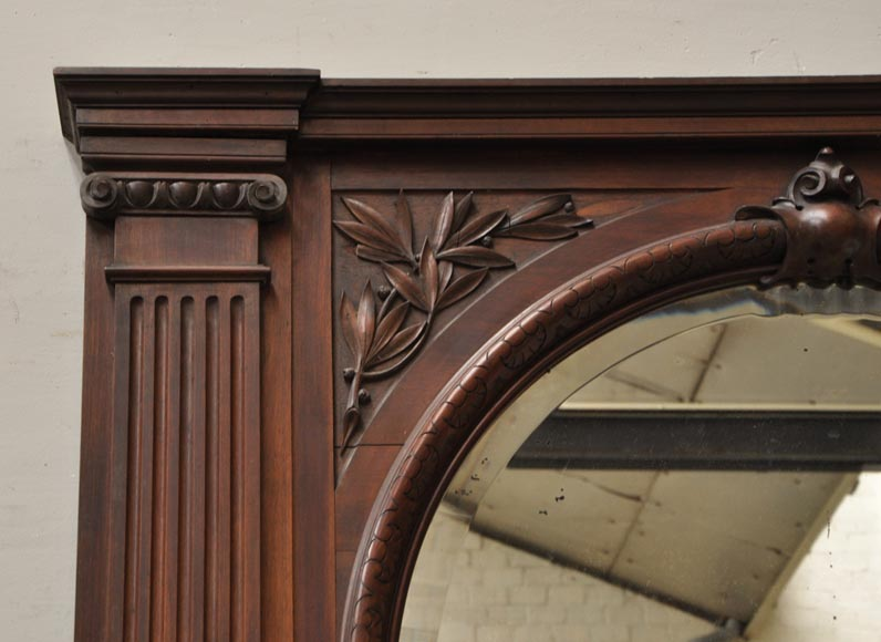 Neo-Renaissance style antique fireplace in carved walnut wood-13
