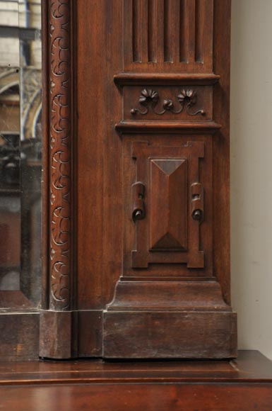 Neo-Renaissance style antique fireplace in carved walnut wood-14