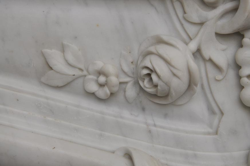 Large antique Louis XV style fireplace with roses decoration in Carrara marble-2