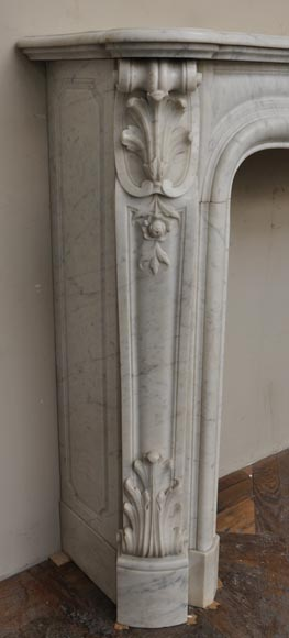 Large antique Louis XV style fireplace with roses decoration in Carrara marble-5