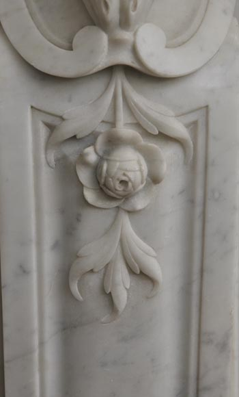 Large antique Louis XV style fireplace with roses decoration in Carrara marble-7