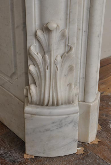 Large antique Louis XV style fireplace with roses decoration in Carrara marble-8