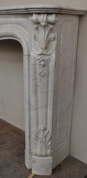 Large antique Louis XV style fireplace with roses decoration in Carrara marble-9