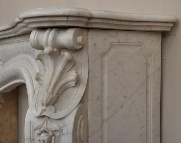 Large antique Louis XV style fireplace with roses decoration in Carrara marble-11
