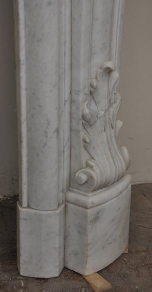 Large antique Louis XV style fireplace with roses decoration in Carrara marble-12