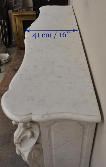 Large antique Louis XV style fireplace with roses decoration in Carrara marble-14