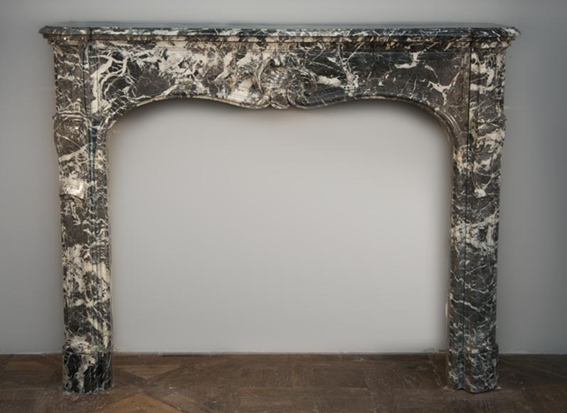 Beautiful antique Louis XV period fireplace made out of Gris Sainte Anne marble - Reference 2408