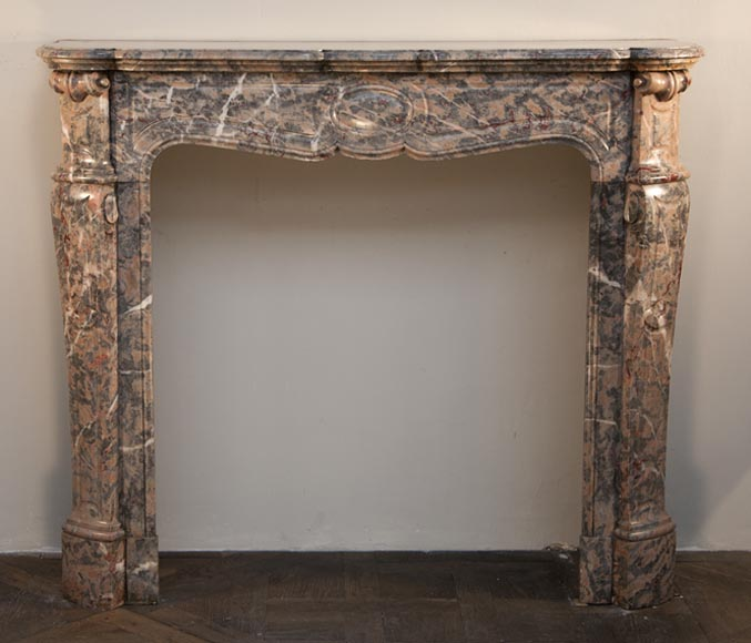 Antique Louis XV style fireplace, Pompadour model, made out of Pink Enjugerais marble - Reference 2412
