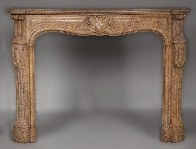 Antique Louis XV style fireplace in Yellow Lamartine marble - Reference 2414
