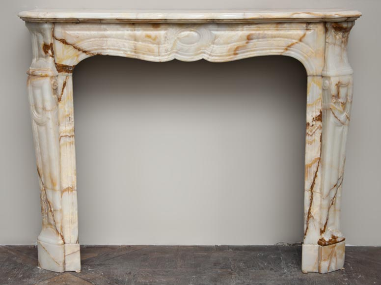 Antique Louis XV style fireplace, Pompadour model, made out of onyx from Algeria - Reference 2416