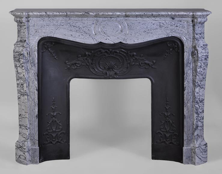 Antique Louis XV style Pompadour fireplace in Bleu Fleuri marble with cast iron insert - Reference 2426