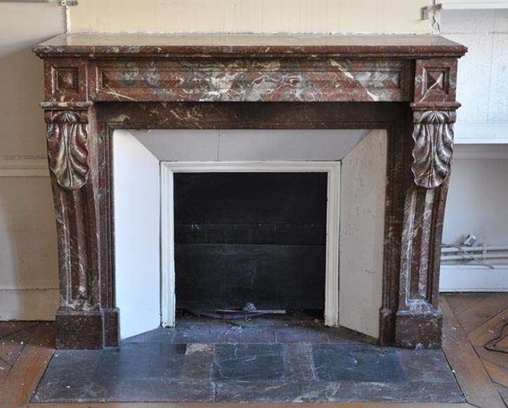 Antique Napoleon III style fireplace in Northern red marble-0